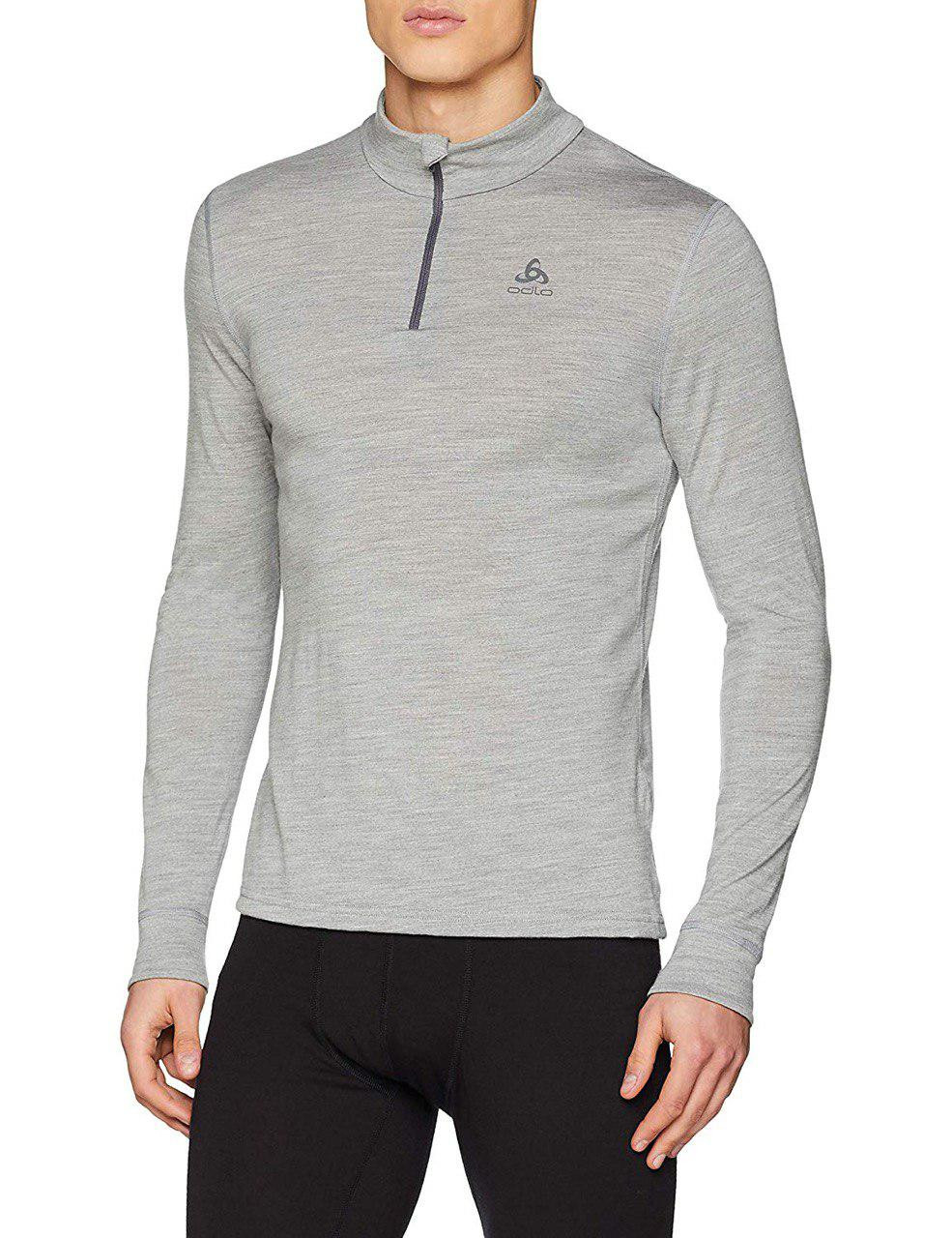 Термофутболка Odlo L/S Turtle Neck 1/2 Zip Natural 100% Merino Warm (110802 Grey Melange L)