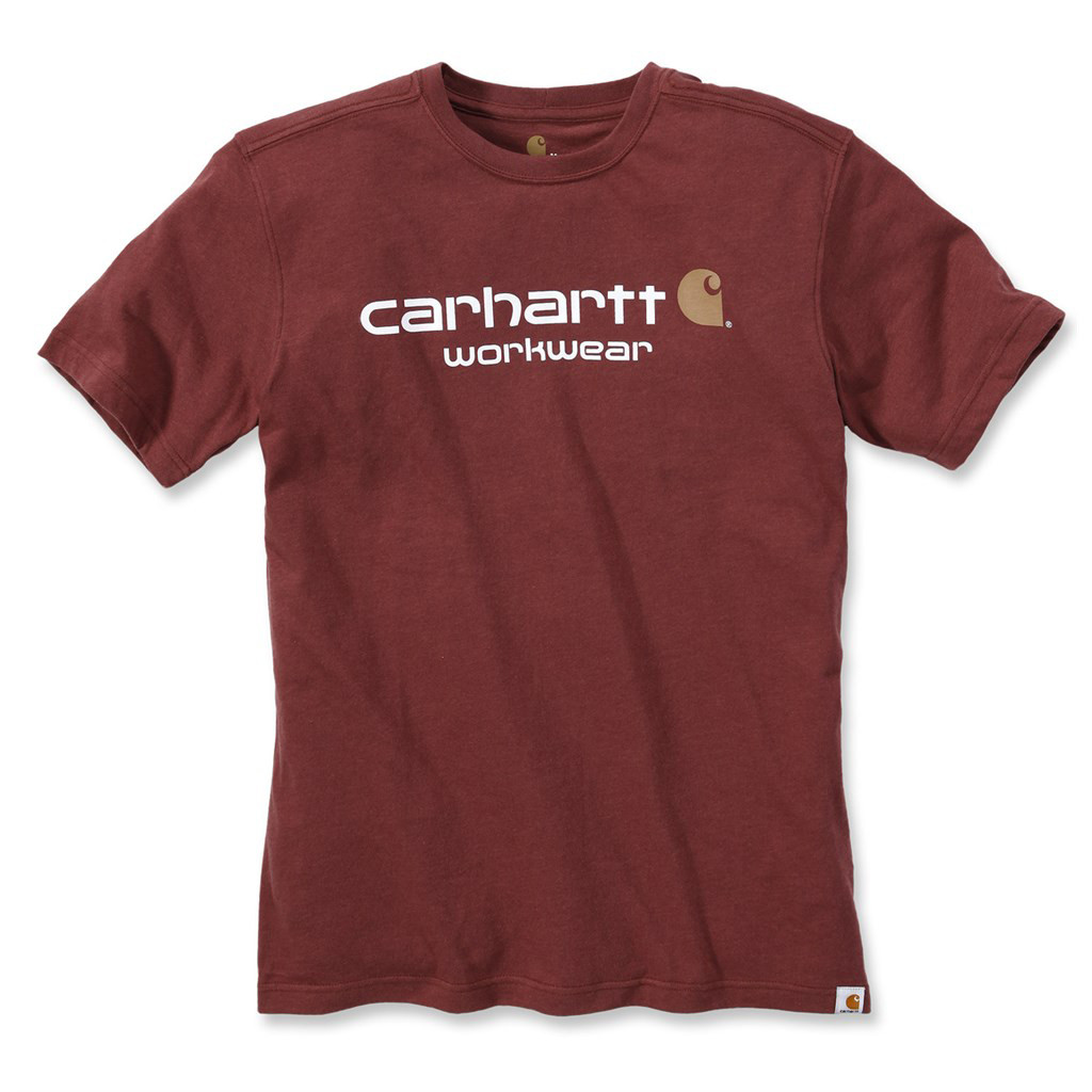 Футболка Carhartt Core Logo T-Shirt S/S - 101214 (Fired Brick Heather, S)