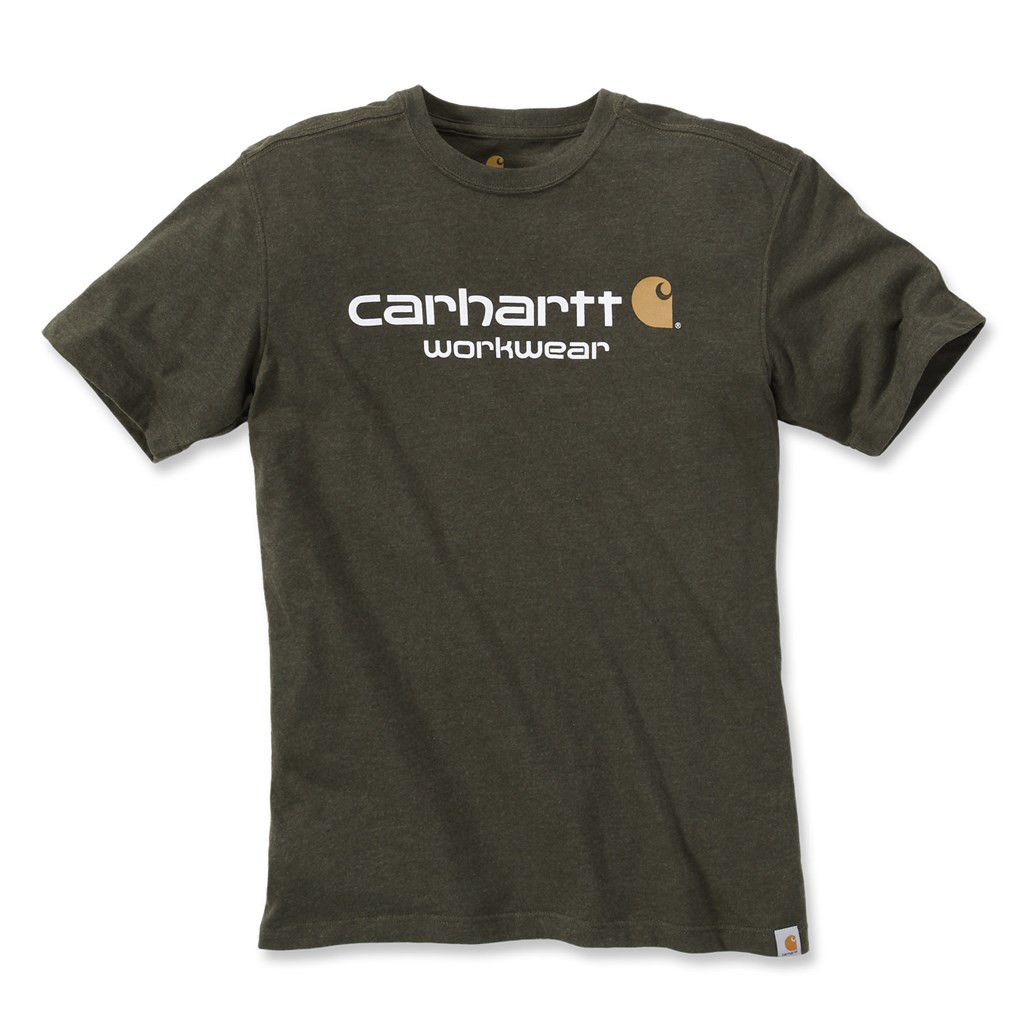 Футболка Carhartt Core Logo T-Shirt S/S - 101214 (Moss Heather, S)