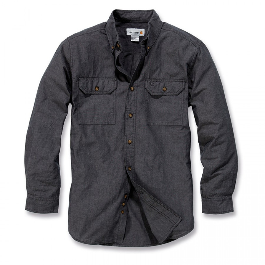 Рубашка Carhartt L/S Fort Solid Shirt - S202 (Black Chambray, XL)