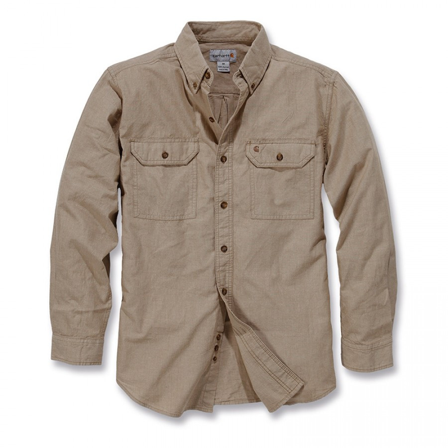Рубашка Carhartt L/S Fort Solid Shirt - S202 (Dark Tan Chambray, S)