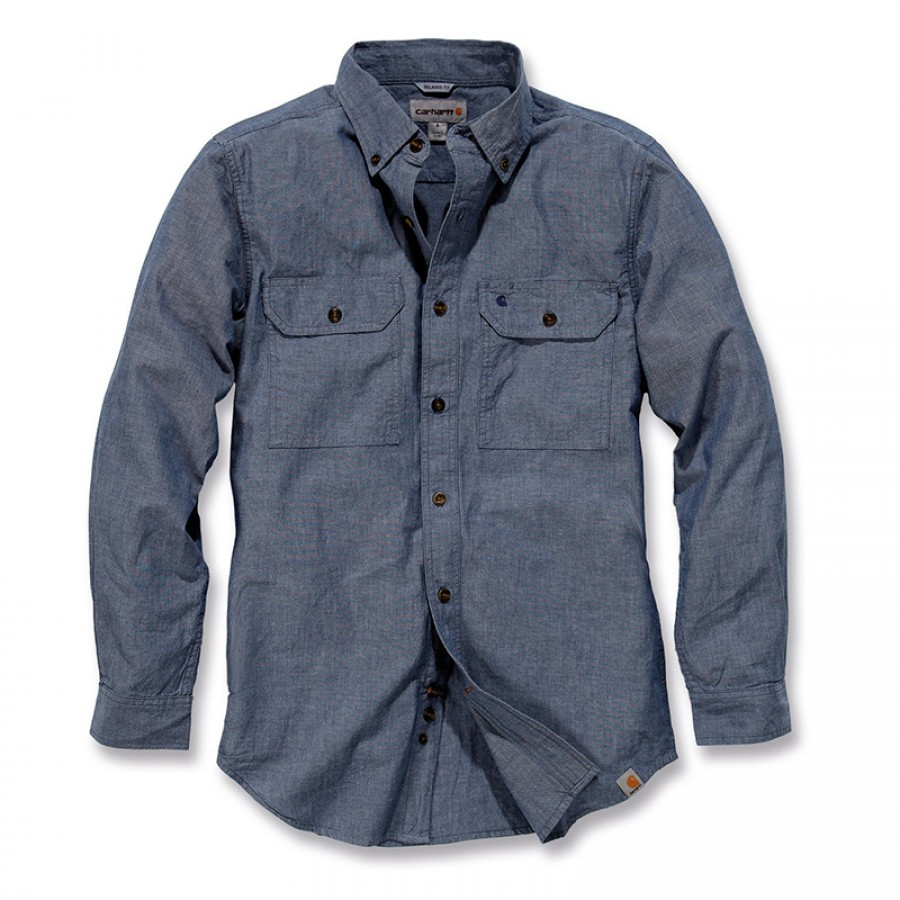 Рубашка Carhartt L/S Fort Solid Shirt - S202 (Denim Blue Chambray, L)