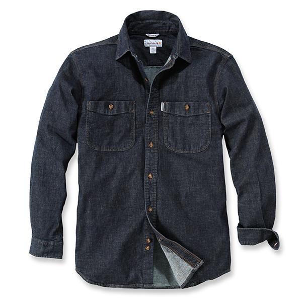 Рубашка Carhartt L/S Rugged Flex Patten Denim Shirt - 102257 (Rotary Rinse, S)