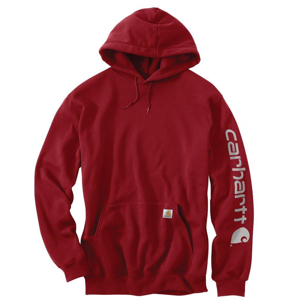 Худи Carhartt Sleeve Logo Hooded Sweatshirt - K288 (Dark Crimson, XL)