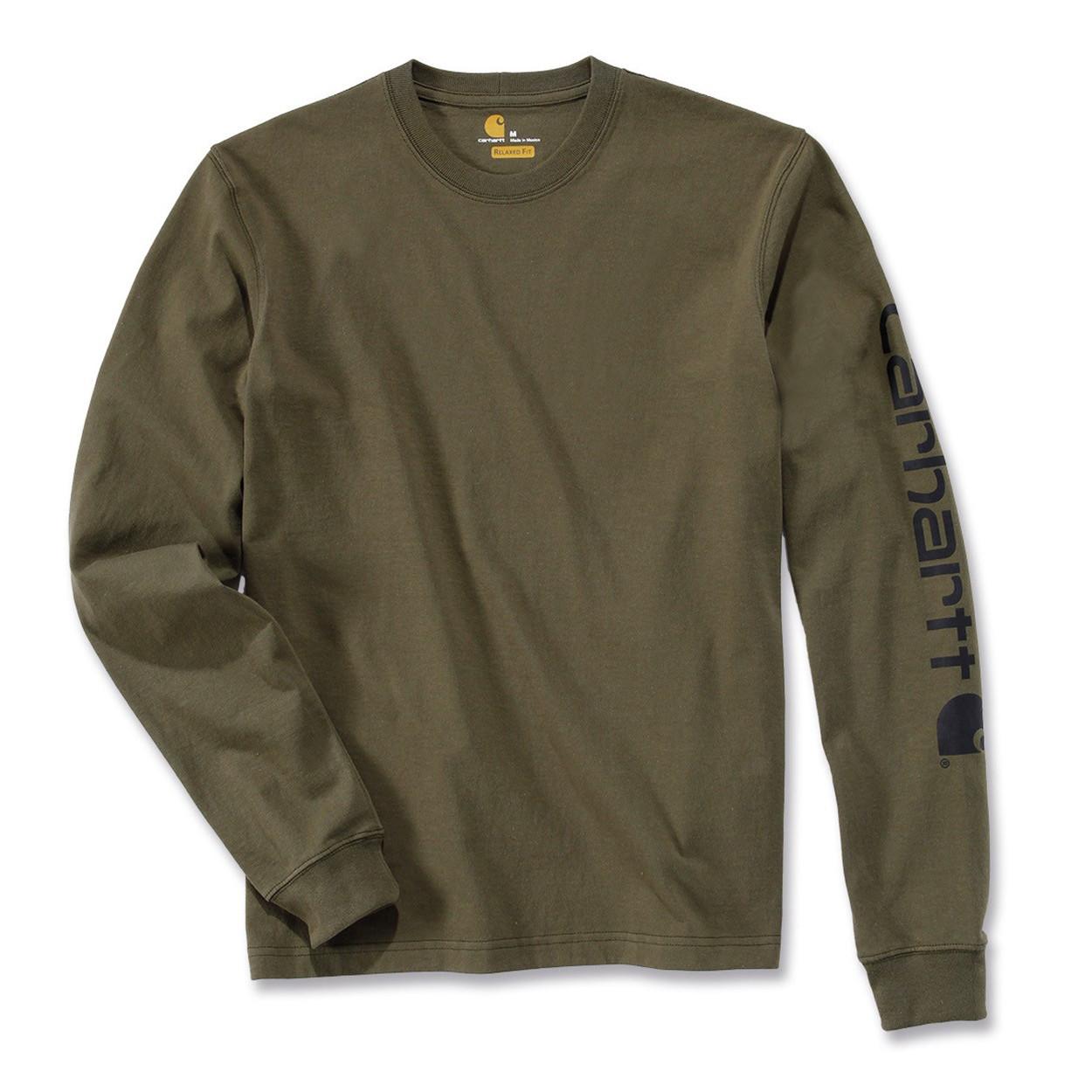Футболка с длинным рукавом Carhartt Sleeve Logo T-Shirt L/S - EK231 (Army Green, M)