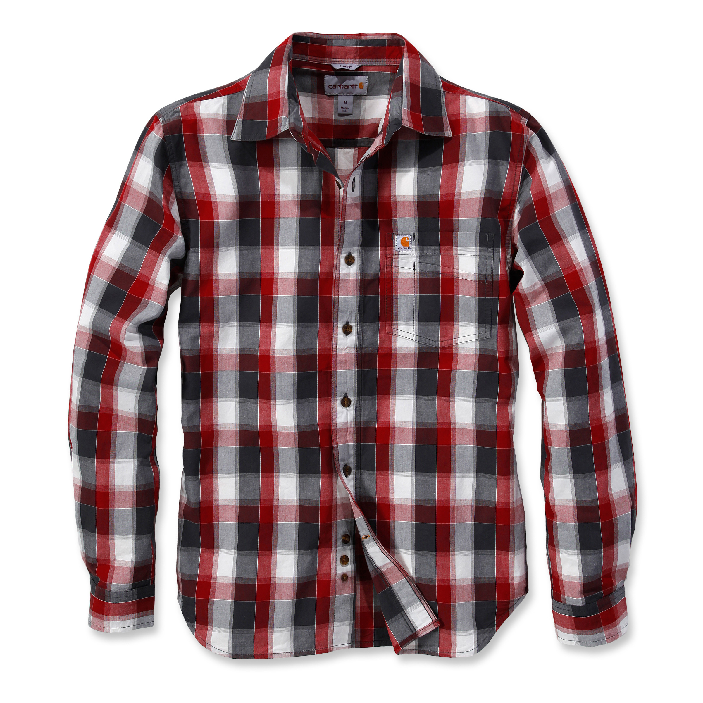 Рубашка Carhartt Slim Fit Plaid Shirt L/S - 103190 (Dark Crimson, XL)