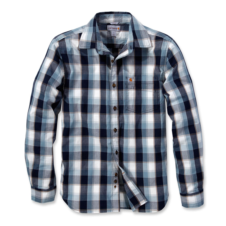 Рубашка Carhartt Slim Fit Plaid Shirt L/S - 103190 (Navy, XL)