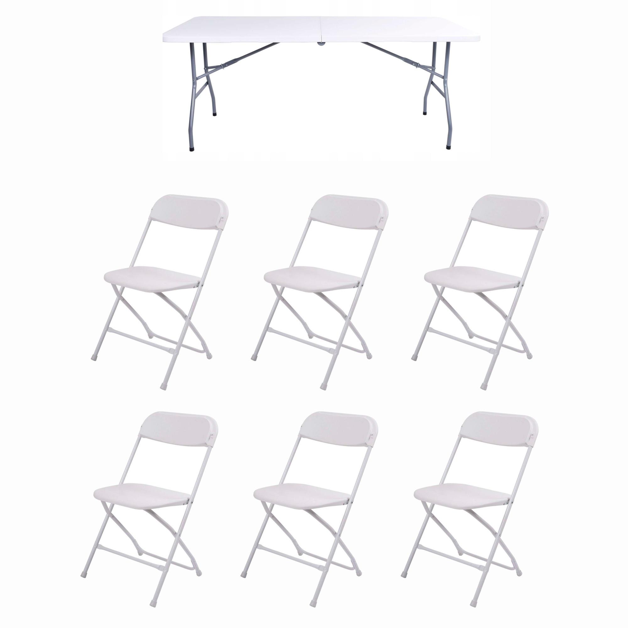 Набор складной мебели для дома, конференций, пикника CarryOn Etna 1.8 м белый (стол + 6 стульев)