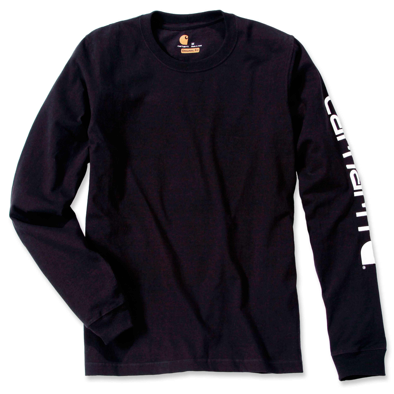Футболка с длинным рукавом Carhartt Sleeve Logo T-Shirt L/S - EK231 (Black, XL)