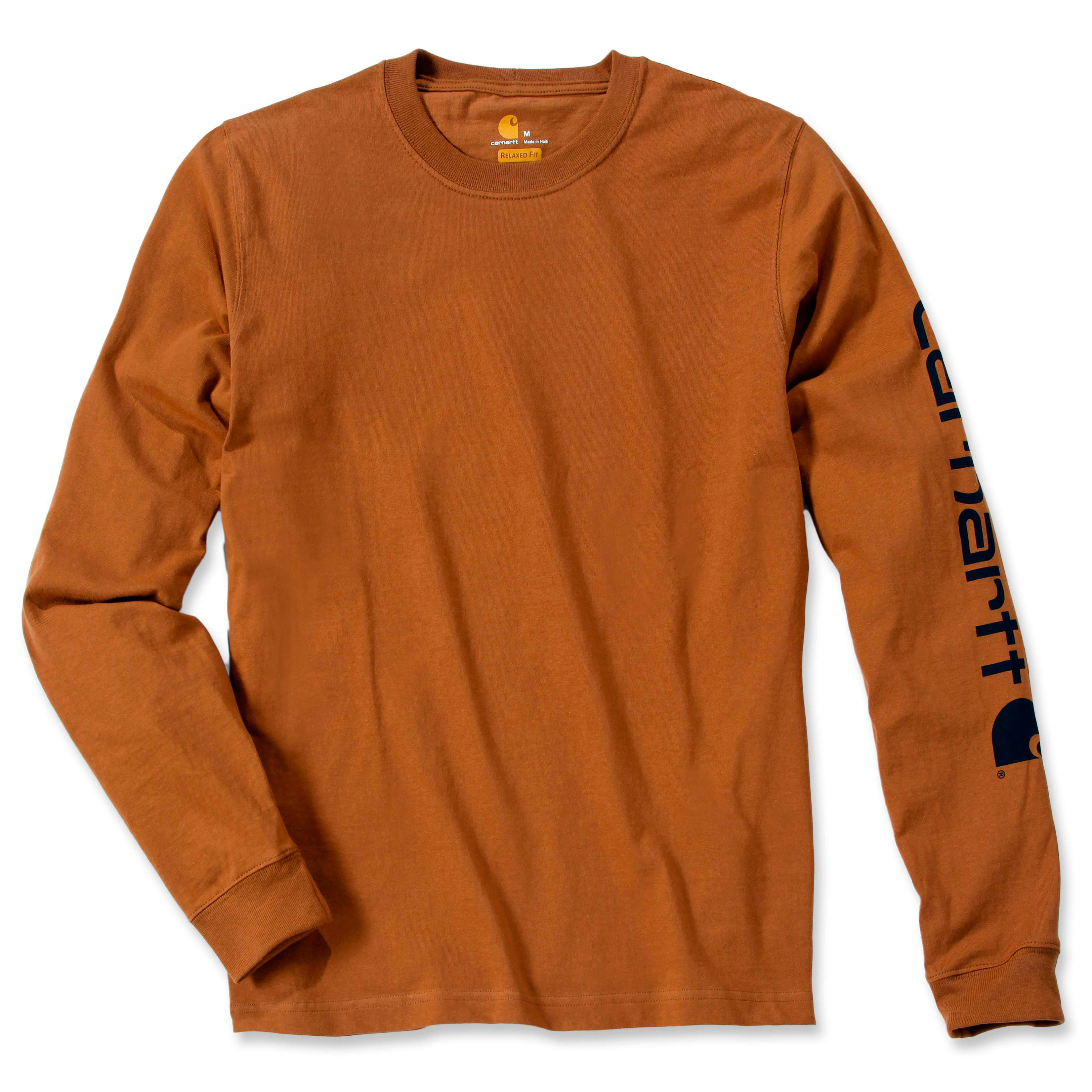 Футболка с длинным рукавом Carhartt Sleeve Logo T-Shirt L/S - EK231 (Carhartt Brown, XL)