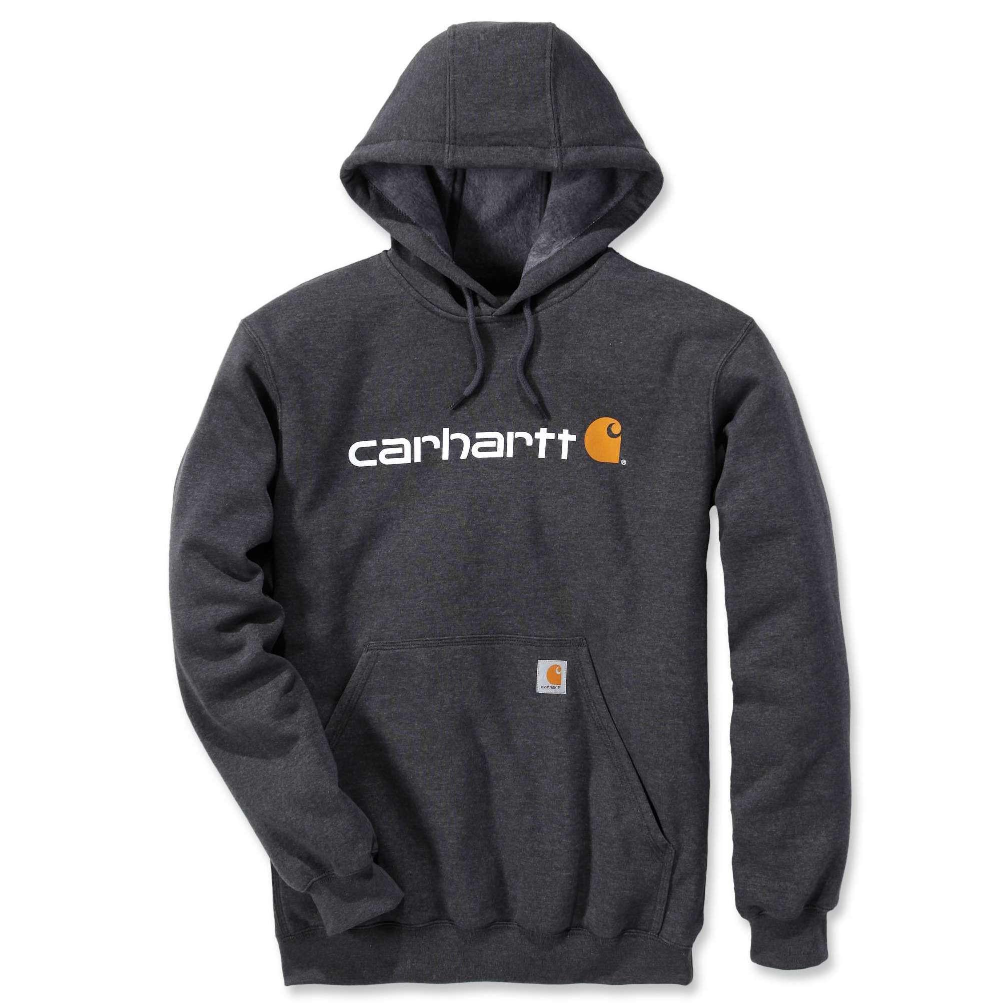 Худи Carhartt Signature Logo Hooded Sweatshirt - 100074 (Carbon Heather; S)