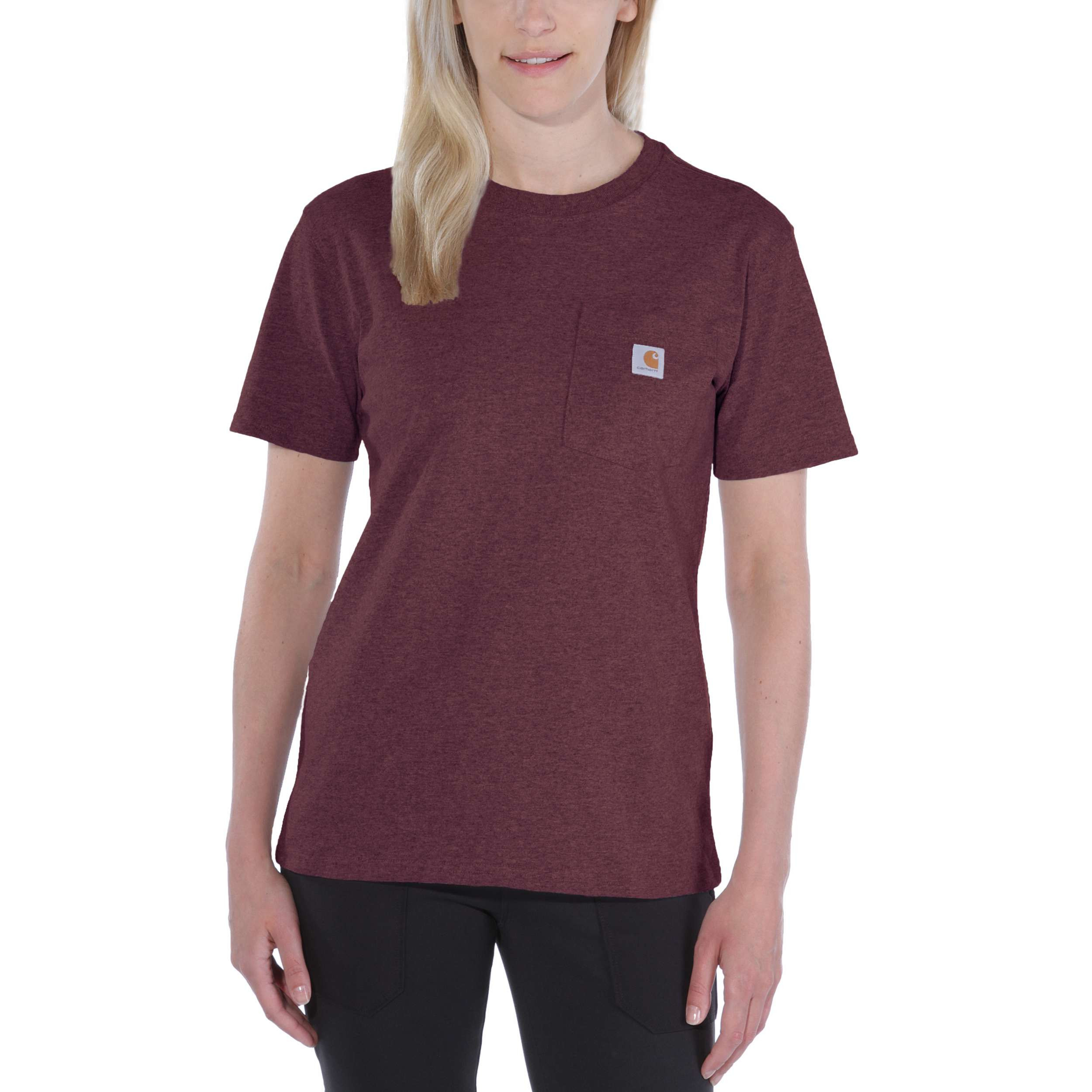 Футболка женская Carhartt WK87 Workwear Pocket T-Shirt - 103067 (Deep Wine, S)