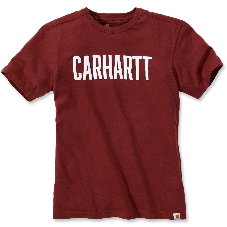 Футболка Carhartt Block Logo T-Shirt S/S - 103203 (Fired Brick Heather, S)