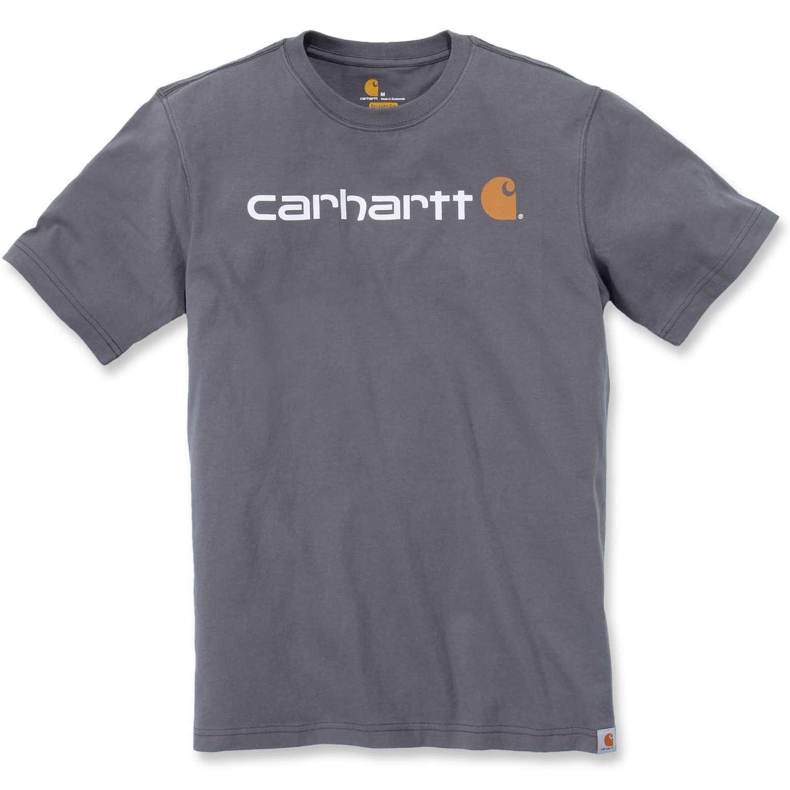 Футболка Carhartt Core Logo T-Shirt S/S - 103361 (Charcoal, XS)