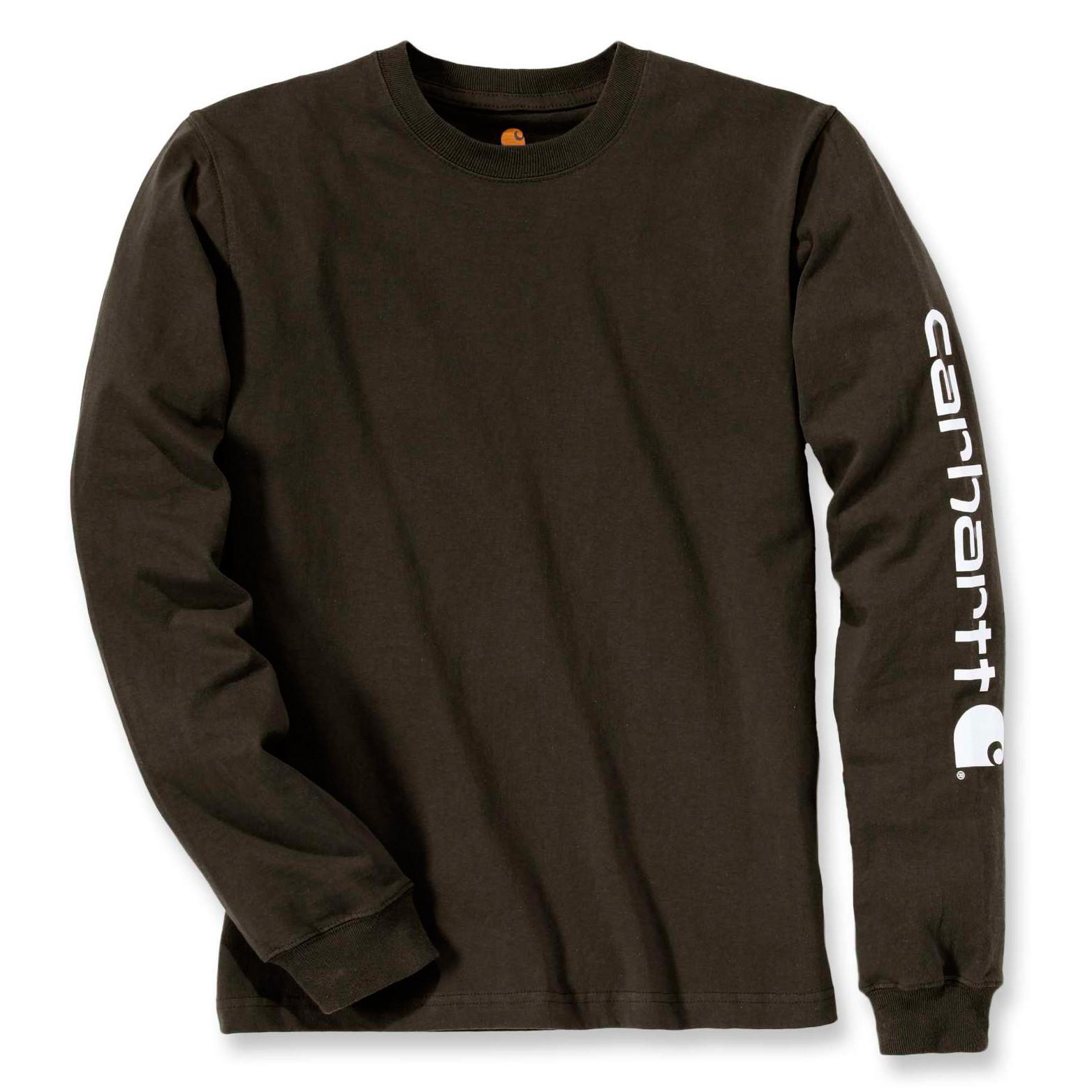 Футболка с длинным рукавом Carhartt Sleeve Logo T-Shirt L/S - EK231 (Peat, L)