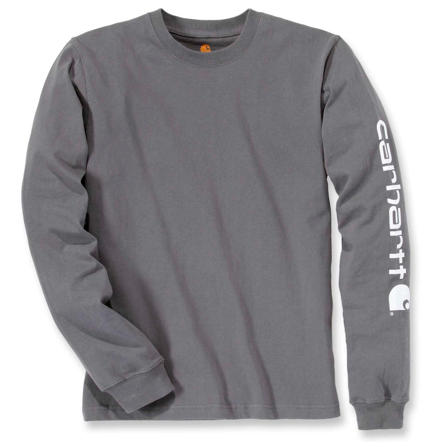 Футболка с длинным рукавом Carhartt Sleeve Logo T-Shirt L/S - EK231 (Charcoal, M)