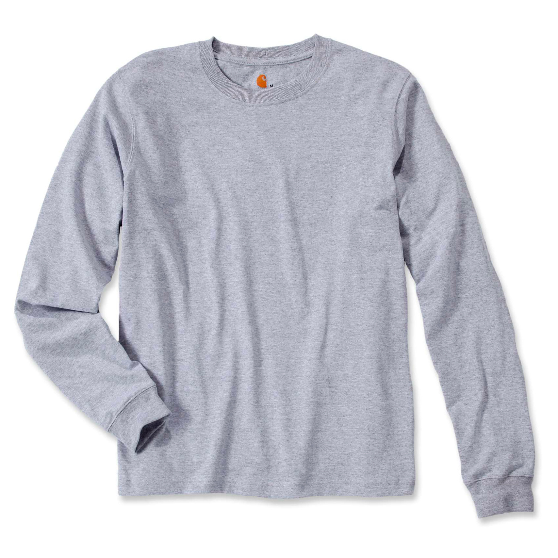 Футболка с длинным рукавом Carhartt Sleeve Logo T-Shirt L/S - EK231 (Heather Grey, L)