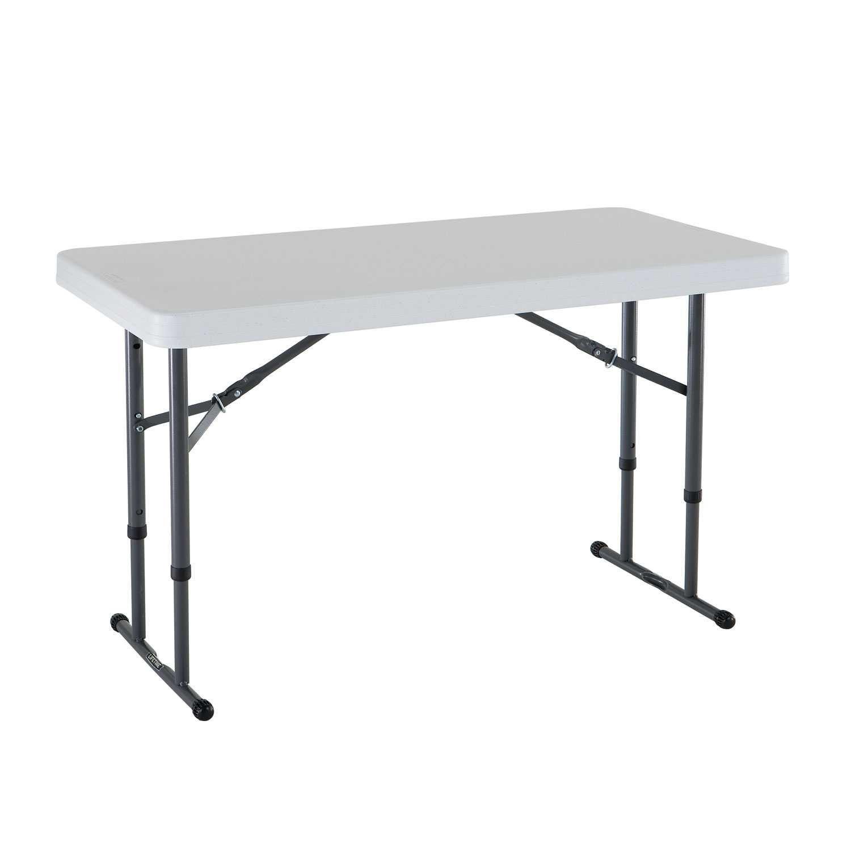 Складной стол с регулировкой по высоте LIFETIME 80160 (122 x 61 x 61 - 91 см) Белый/Серый