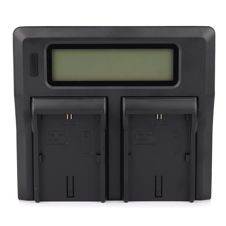 Зарядное устройство MyGear dual DC-LCD для двух аккумуляторов Canon LP-E6, AC кабель