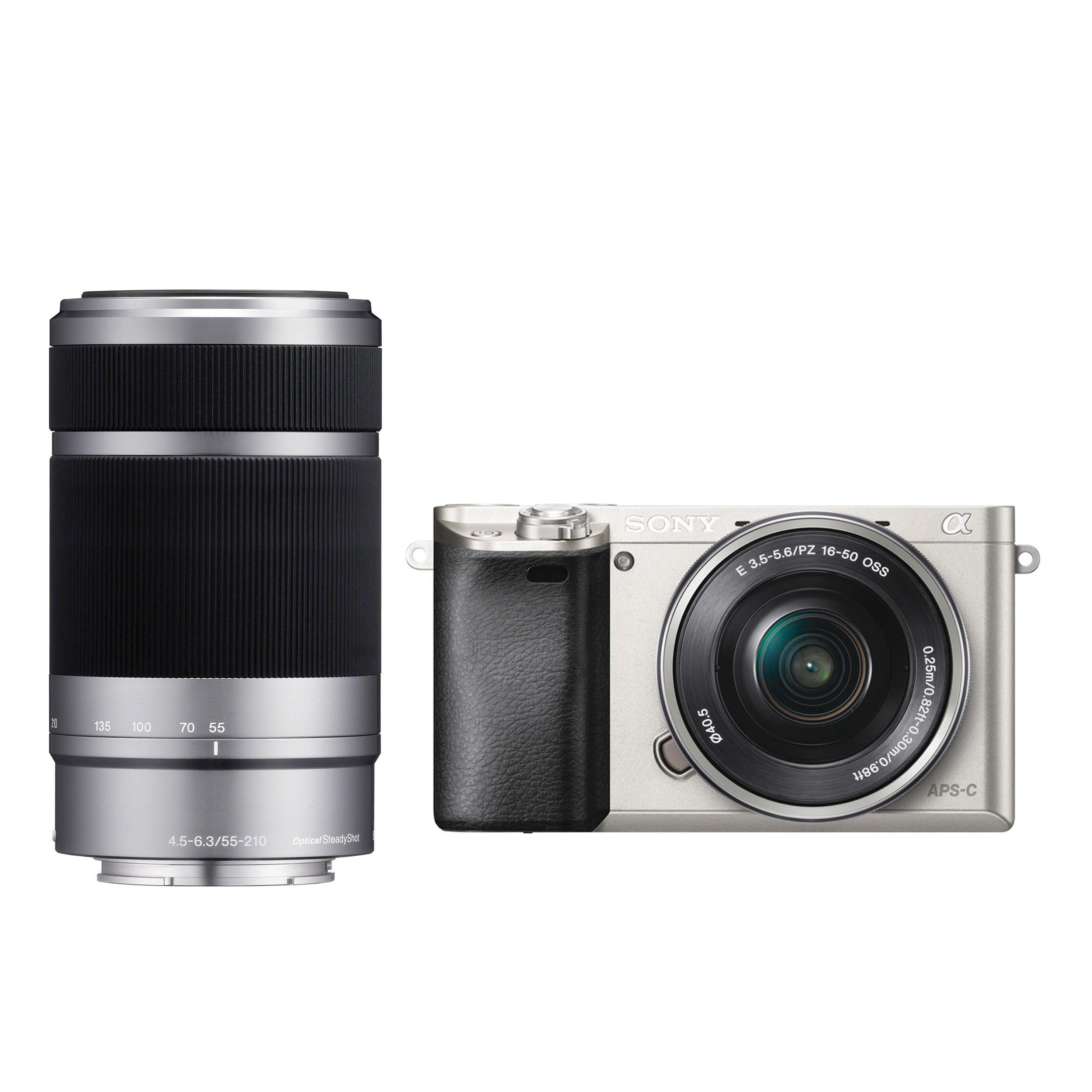 Фотоаппарат Sony Alpha 6000 Double Kit 16-50 + 55-210mm Silver