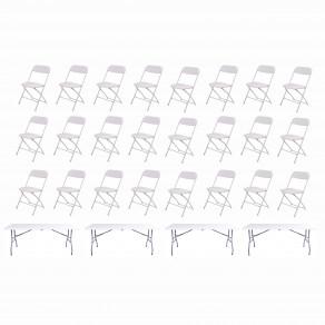 Набор складной мебели для дома, конференций, пикника CarryOn Etna 1.8 м белый (4 стола + 24 стула)