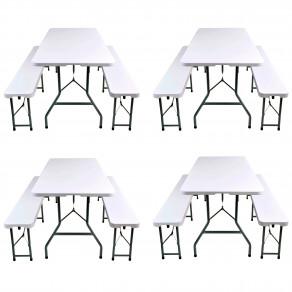 Набор складной мебели для дома, конференций, пикника CarryOn Etna 1.8 м белый (4 стола + 8 скамеек)