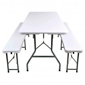 Набор складной мебели для дома, конференций, пикника CarryOn Etna 1.8 м белый (стол + 2 скамьи)