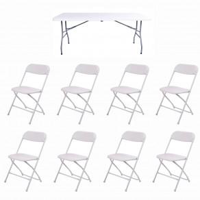 Набор складной мебели для дома, конференций, пикника CarryOn Etna 1.8 м белый (стол + 8 стульев)