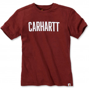 Футболка Carhartt Block Logo T-Shirt S/S 103203 (Fired Brick Heather)