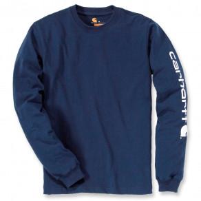 Футболка с длинным рукавом Carhartt Sleeve Logo T-Shirt L/S - EK231 (Navy)