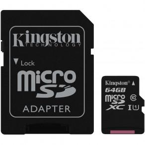 Карта памяти Kingston 64GB microSDXC C10 UHS-I R80MB/s + SD адаптер