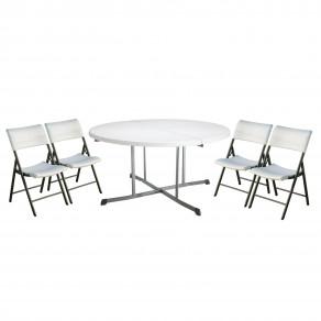 Набор складной мебели LIFETIME (круглый стол-книжка 25402 и 4 стула 80191)