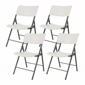 Комплект складных легких стульев LIFETIME 80191 Белый/Серый (4 штуки)