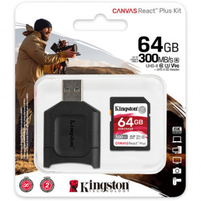 Карта памяти SD Kingston Canvas React Plus 64GB UHS-II, U3, V90 (R300/W260) + USB-кардридер
