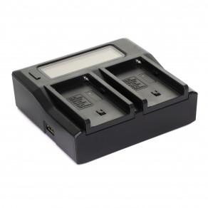 Зарядное устройство MyGear dual DC-LCD для двух аккумуляторов типа Sony NP-F750/F970 + USB 5V 2,1A, AC кабель