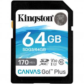 Карта памяти SD Kingston Canvas Go! Plus 64GB UHS-I, U3, V30 (R170/W70)